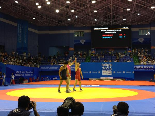 Teymur Mammadov wins gold in the 63kg freestyle wrestling ©Twitter
