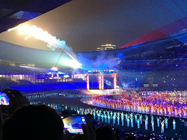 The Nanjing 2014 Youth Olympic Flame is lit ©Nanjing 2014