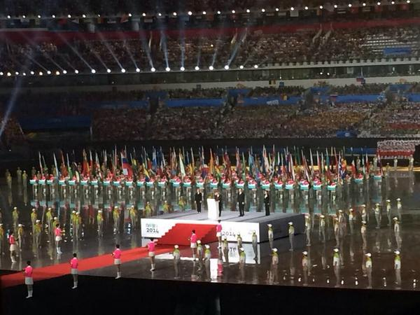 The heads of the IOC and Nanjing 2014 speak at the Opening Ceremony ©Twitter