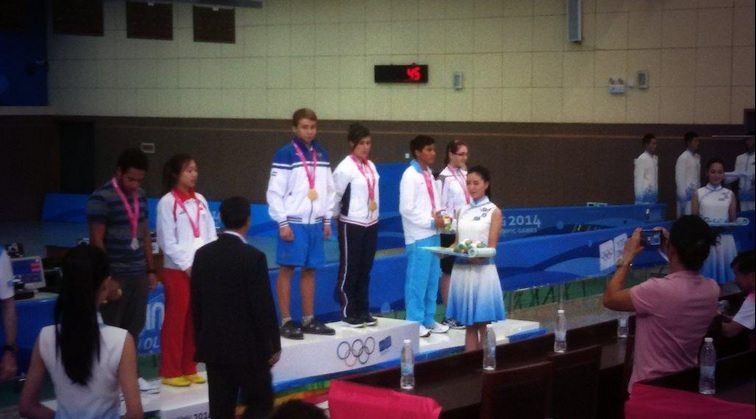 The medals presentation in mixed pistol shooting ©Twitter