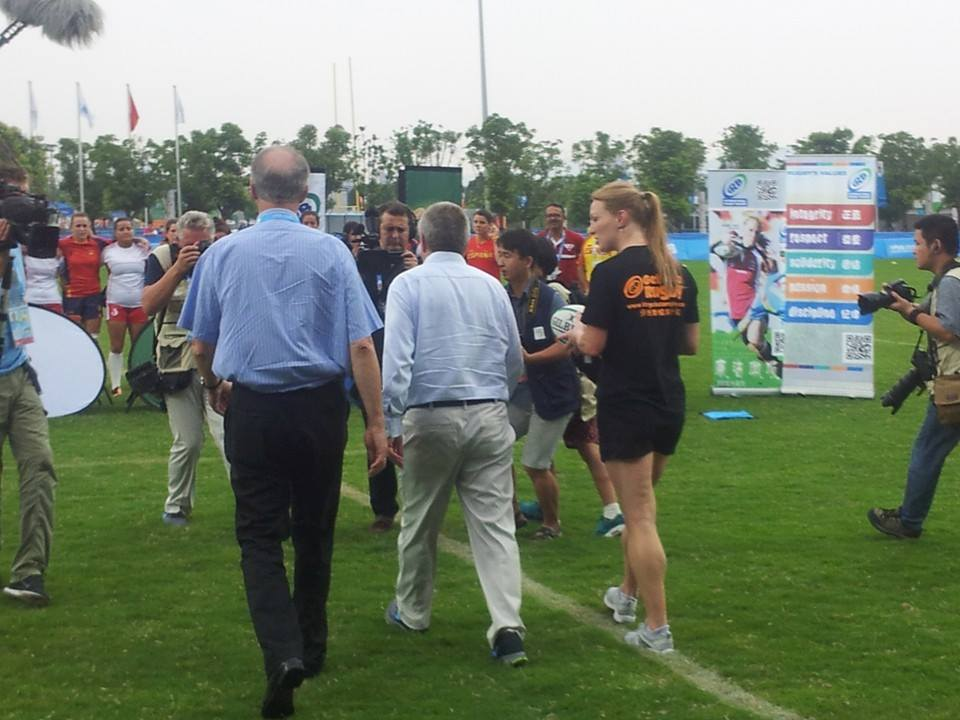 Thomas Bach and Bernard Lapasset are pursued as they stride purposefully at the rugby ©ITG