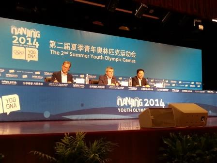 Thomas Bach, speaking alongside Nanjing 2014 executive-president Yang Weize, was full of praise for these Youth Olympics ©ITG