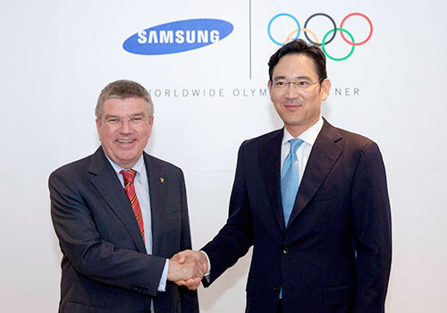 The IOC have resigned Samsung as a TOP sponsor until 2020 at an announcement attended by President Thomas Bach and  Jay Y. Lee, vice-chairman of Samsung Electronics ©IOC
