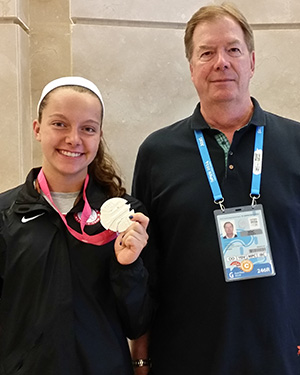 USOC chairman Larry Probs pictured with triathlete Stephanie Jenks during his visit ©USOC