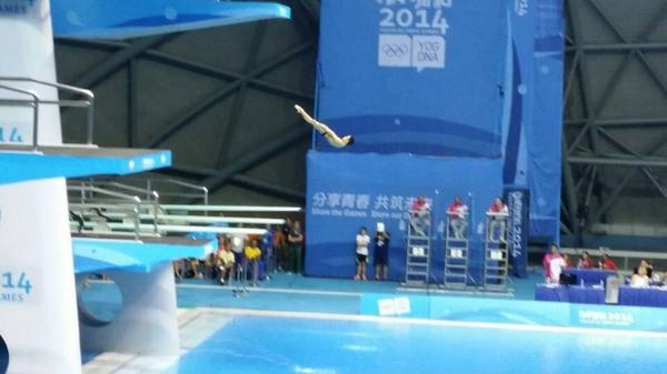 We're coming into the closing stages of the mixed internationl team diving competition ©Twitter