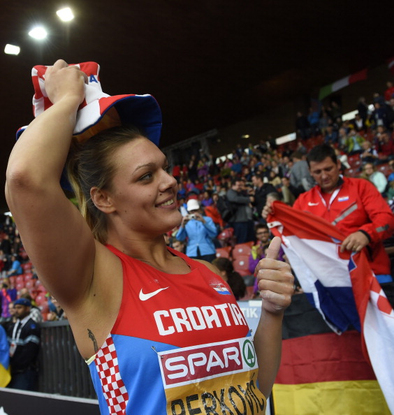 Sandra Perkovic of Croatia celebrates after winning a third European discus gold ©AFP/Getty Images