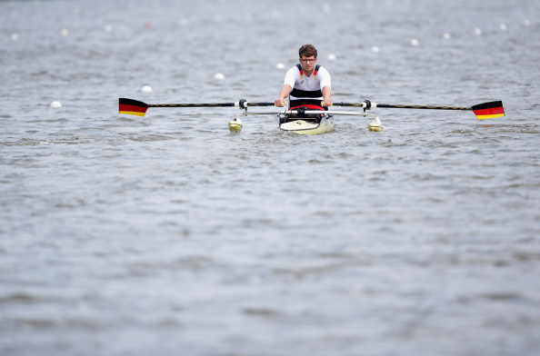 Germany's para-rower Johannes Schmidt, winner of the AS single sculls B final today in Amsterdam ©Getty Images