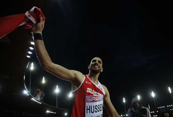 Kariem Hussein celebrates winning home gold in Zurich ©Getty Images
