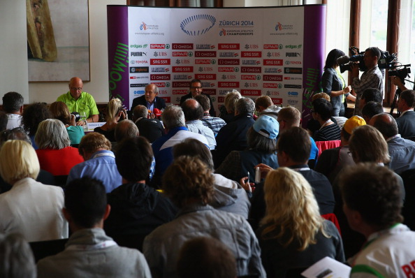 Patrick Magyar (left) addresses the official press conference on the eve of the European Championships in Zurich ©Getty Images