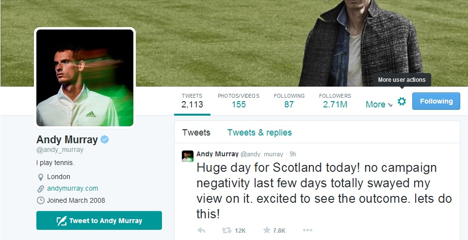 Andy Murray's Tweet from today ©Andy Murray