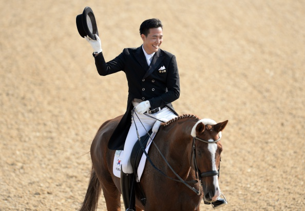 Kim Dongeson won one of five South Korean goals on day one as part of the dominant dressage team ©Getty Images