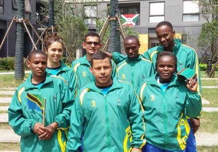 Athletes from Tanzania wearing their JSPORTS kit at Nanjing 2014 ©JSPORTS