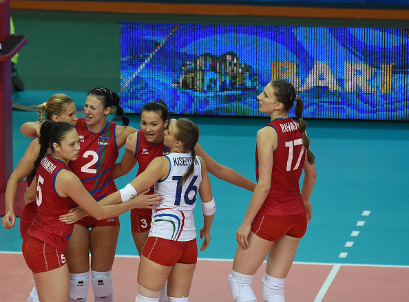 Azerbaijan celebrate their victory over Japan at the FIVB Women's World Championships in Bari ©Getty Images