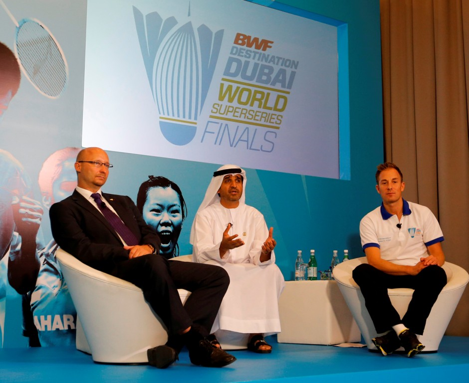 BWF secretary general Thomas Lund, Dr Ahmad Saad Al Sharif, secretary general of Dubai Sports Council, and Peter Gade, Danish former world number one, at a press conference in Dubai ahead of the BWF Destination Dubai World Superseries Finals ©BWF