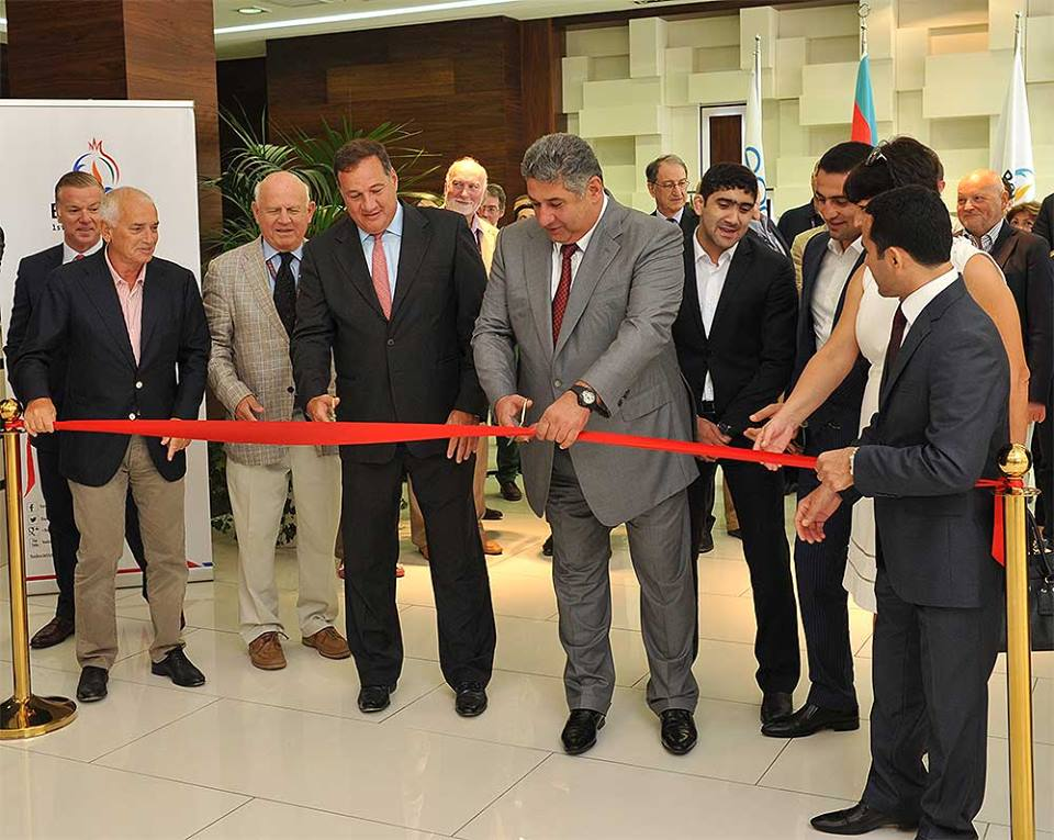Spyros Capralos, chairman of the EOC Coordination Commission, and Azad Rahimov, Azerbaijan's Minister of Youth and Sport and Baku 2015 chief executive, opened the new headquarters in the Azerbaijani capital ©Baku 2015