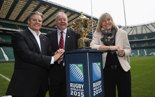 Brett Gosper IRB Chief Executive Bill Beaumont RFU Chairman and Debbie Jevans England Rugby 2015 chief executive with the Webb Ellis Cup ©Getty Images