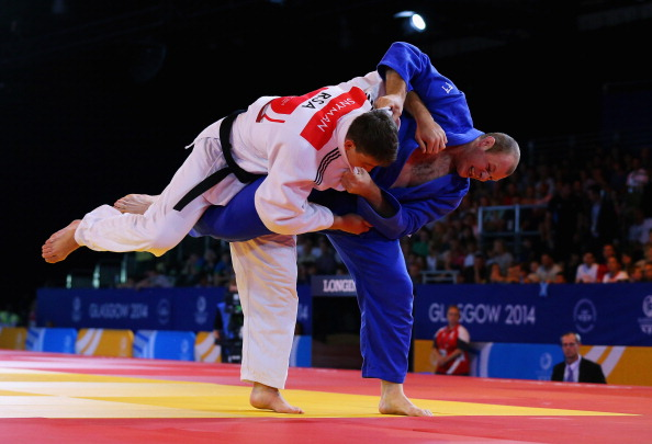 Commonwealth champion Christopher Sherrington blue competes in the Mens 100kg Judo final for Scotland ©Getty Images