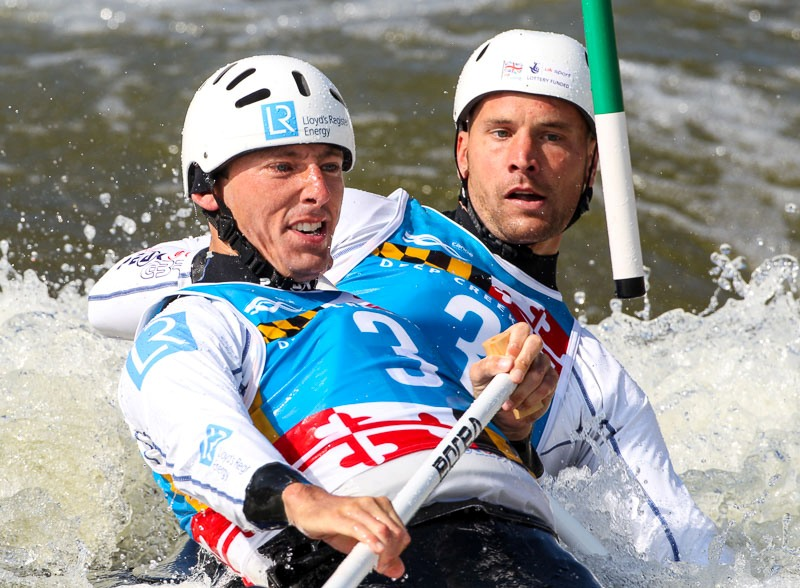 David Florence left and Richard Hounslow right suffered an early exit from the men's C2 ©ICF