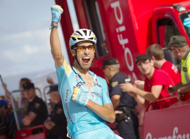 Italy's Fabio Aru moves up to fifth overall in the Vuelta a España after his second stage win ©AFP/Getty Images