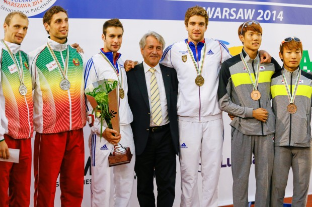 French duo Valentin Prades and Valentin Belaud have secured victory in the mens relay event of the 2014 Modern Pentathlon World Championships ©UIPM