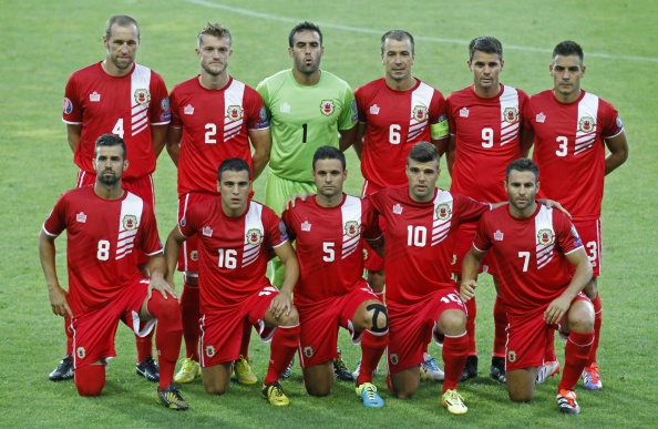 Gibraltar's national football team, pictured here ahead of their Euro 2016 qualifier against Poland, will not be taking part in qualifying for the 2018 World Cup under FIFA's ruling ©AFP/Getty Images