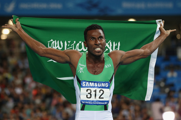 A delighted Yousef Ahmed M Masrahi following his gold ©Getty Images