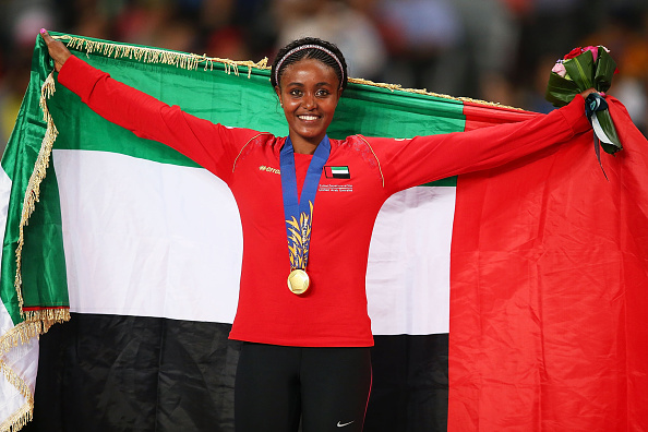 Alia Mohammed Saeed Mohammed of UAE celebrates claiming the gold medal following the Women's 10,000m ©Getty Images