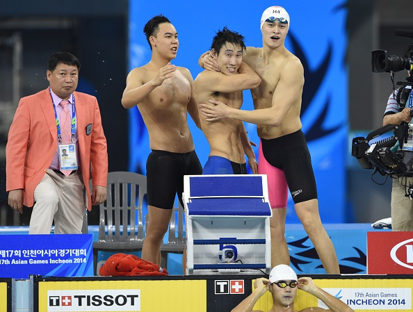China celebrate their 4x100m freestyle relay triumph ©AFP/Getty Images