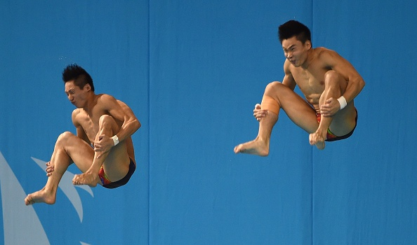 Lin Yue and Cao Yuan took one of two Chinese diving title today, in the synchronised 3m springboard event ©AFP/Getty Images