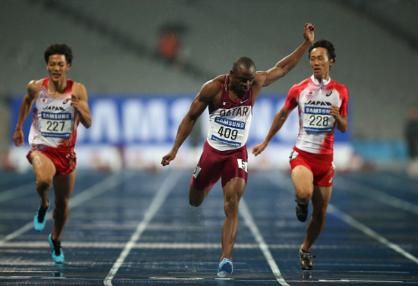 Femi Ogunode blew away the field to win the men's 100m final in a Asian Games and Asian record time of 9.93 seconds ©Getty Images