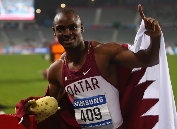 Femi Seun Ogunode celebrates 100m gold ©Getty Images