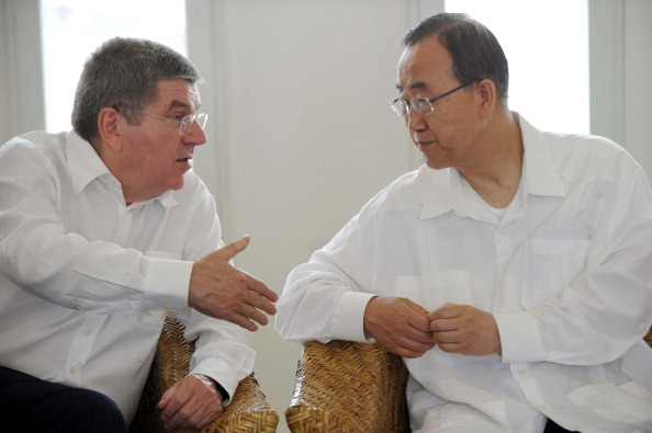 IOC President Thomas Bach with UN secretary general Ban Ki Moon at the opening of the Sport for Hope Centre in Haiti ©AFP/Getty Images