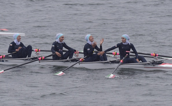Iranian rowers won a bronze medal wearing hijabs this morning ©AFP/Getty Images