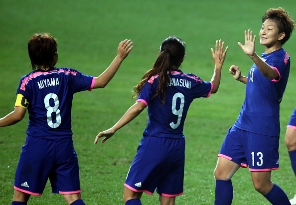 Japan celebrate scoring in the football ©Getty Images