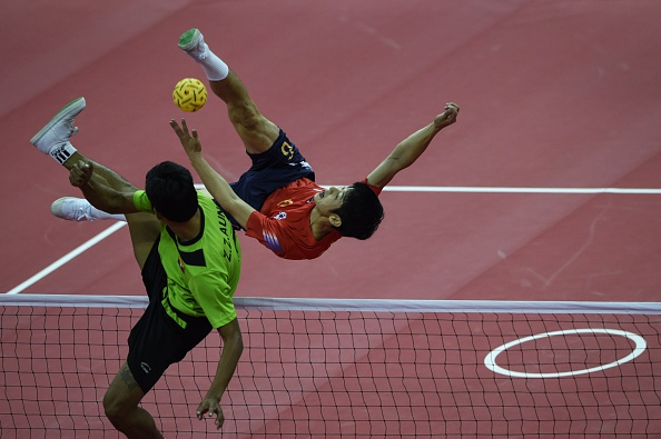 Myanmar were too strong in both sepak takraw doubles events ©AFP/Getty Images