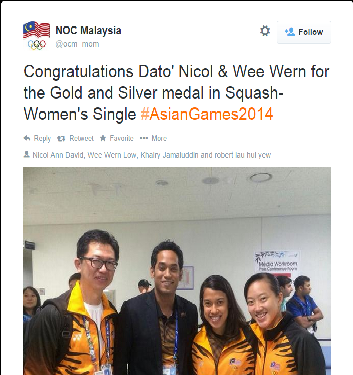 The Olympic Council of Malaysia congratulate Nicol David on retaining her Asian Games women's squash title ©Twitter