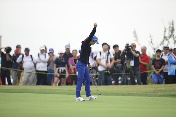 Park Gyeol of South Korea reacts after sinking a putt midway through her brilliant final round ©Getty Images