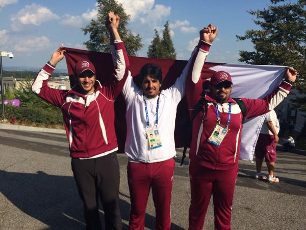 Qatari shooting champions following their victory ©Twitter