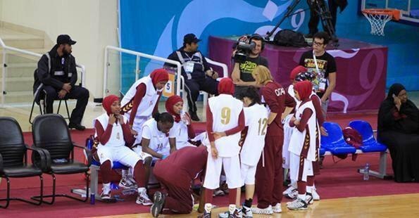 Qatar's women's basketball team were banned from playing wearing a hijab ©Twitter