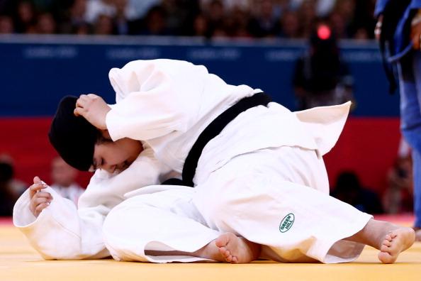 Saudi Arabian judoka Wojdan Shaherkani competed, after an appeal, wearing a limited hijab at London 2012 ©Getty Images