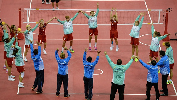 Thailand celebrating their sepak takraw win over Myanmar ©AFP/Getty Images
