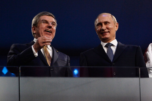 IOC President Thomas Bach has been pictured regularly with Russian leader Vladimir Putin, including at Sochi 2014 ©Getty Images