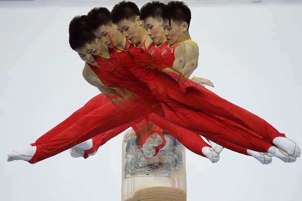 Wang Pang of China on the pommel horse ©Getty Images