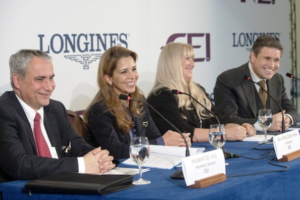 Ingmar De Vos (left) has designs on taking over the FEI Presidency from Princess Haya (second from left) ©Getty Images