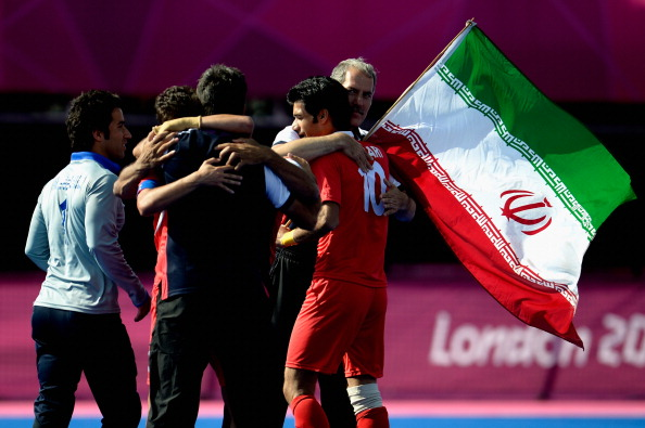 Iran celebrate winning a bronze medal in the men's 7-a-side football at the London 2012 Paralympic Games ©Getty Images