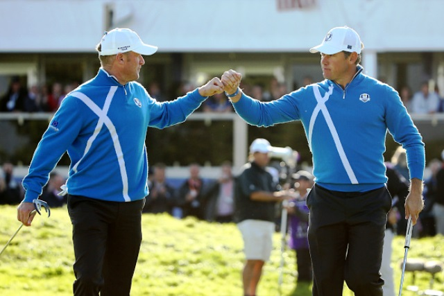 Jamie Donaldson (left) and Lee Westwood got the European points machine rolling with the first point of the afternoon session in Gleneagles ©Getty Images