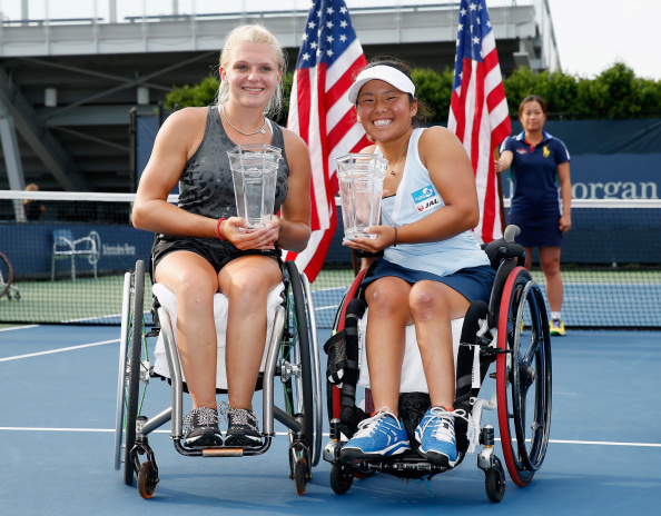 Jordanne Whiley and Yui Kamiji became the first non-Dutch pairing to win a calendar women's wheelchair doubles Grand Slam with victory at the US Open ©Getty Images