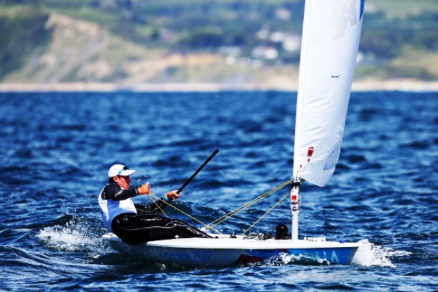 Juan Maegli leads the way in the Laser class after day one of the Sailing World Championships ©Getty Images