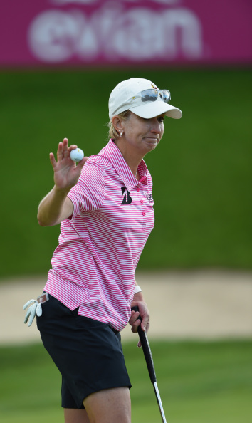 Australia's Karrie Webb has put herself in position to chase a record eighth major by ending the third round at the Evian Championship in second place ©Getty Images
