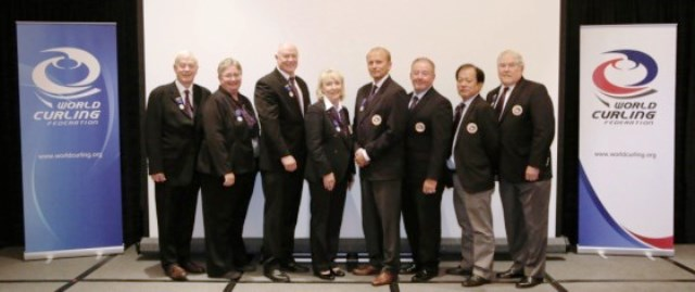 Kate Caithness (fourth from left) and the new-look WCF Board after elections in Reno ©Don Chang/WCF